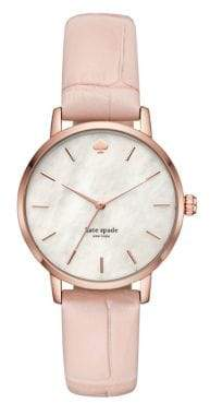 Kate Spade Croco-Embossed Leather Metro Quartz Watch