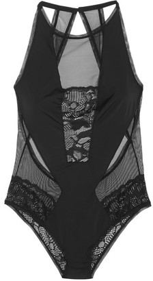 Calvin Klein Underwear - Tulle, Stretch-jersey And Lace Bodysuit - Black $155 thestylecure.com