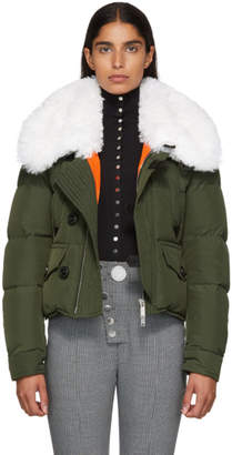 DSQUARED2 Green Fur Collar Puffer Jacket