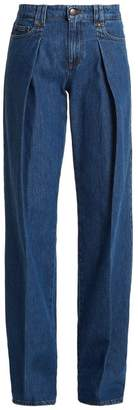 RED Valentino Pleated Wide Leg Jeans - Womens - Indigo