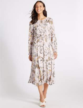 Marks and Spencer Floral Print Long Sleeve Skater Maxi Dress