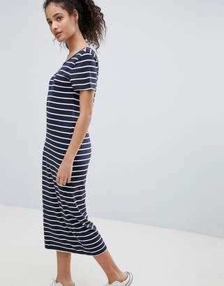Only Abbie Calf Stripe Midi Dress