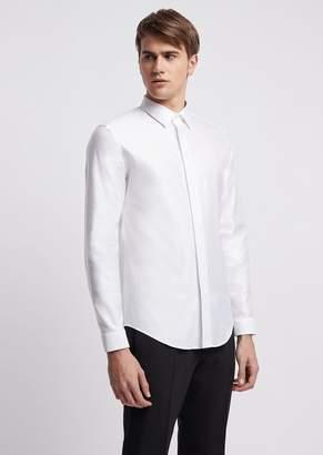 Emporio Armani Slim-Fit Shirt In Chintz-Effect Twill