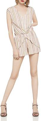 BCBGeneration Striped Crossover Jersey Romper