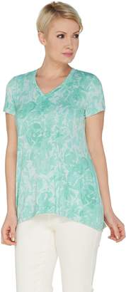 Halston H By H by Rose Print V-Neck Short Sleeve Top