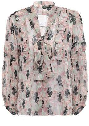Anna Sui Pussy-bow Metallic Floral-print Fil Coupe Silk-blend Blouse