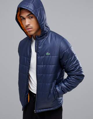 Lacoste Sport hooded zip through padded jacket in navy