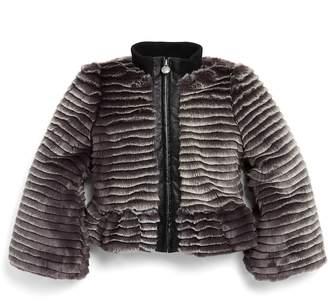 Armani Junior Girls' Faux-Fur Peplum Jacket