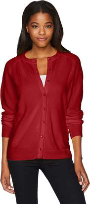 Sag Harbor Women's Long Sleeve Pearl Button Front Cardigan