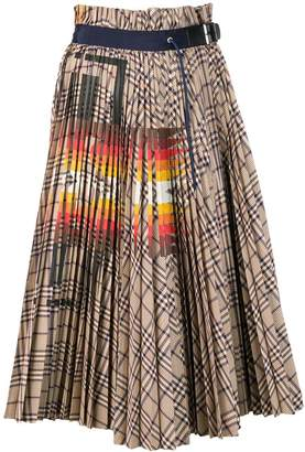 Sacai check pleated skirt