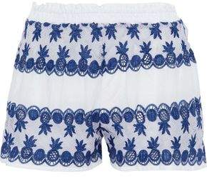 Miguelina Cotton Poplin-Paneled Crocheted Shorts