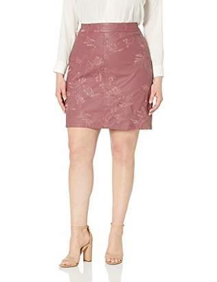 City Chic Women's Apparel Women's Plus Size A-line PU emb Detailed Skirt, S