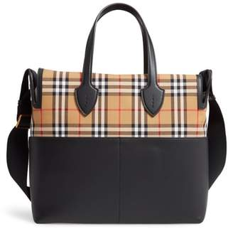 Burberry Kingswood Vintage Check & Leather Diaper Tote