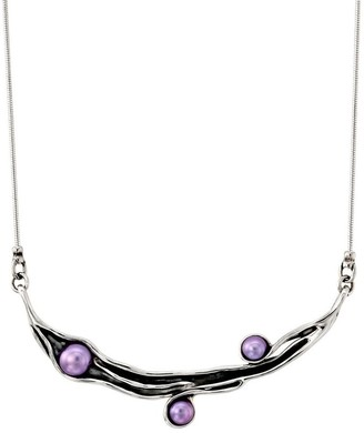 """Hagit Sterling Silver 18"""" Cultured Pearl Station Necklace"""