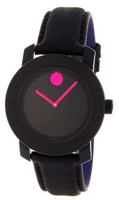 Movado Women's Bold 36mm Black Leather Band Steel Case Quartz Watch 3600482