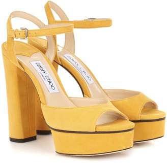 Jimmy Choo Peachy 125 suede plateau sandals