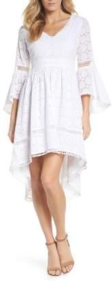 Eliza J Bell Sleeve High/Low Eyelet Dress