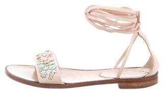 RED Valentino Beaded Wrap-Around Sandals