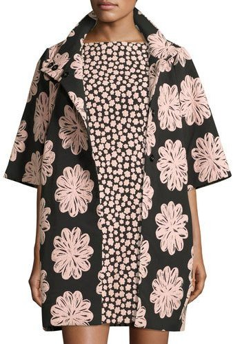 Kate Spade Kate Spade New York Short-Sleeve Jacquard Petal Stamp Coat, Black/Natural