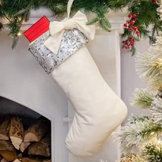 """Belham Living Glitter Trim White Velvet Christmas Stocking, 18.5"""""""