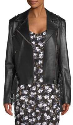 Michael Kors Ruffle Sleeve Leather Moto Jacket