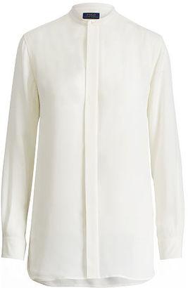 Polo Ralph Lauren Banded-Collar Silk Shirt $198 thestylecure.com