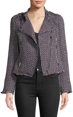 Black Tape Asymmetric Tweed Zipper Jacket
