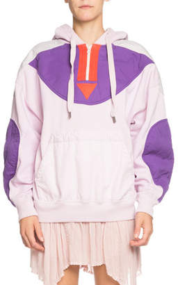 Etoile Isabel Marant Nansel Quilted Pullover Quarter-Zip Hoodie
