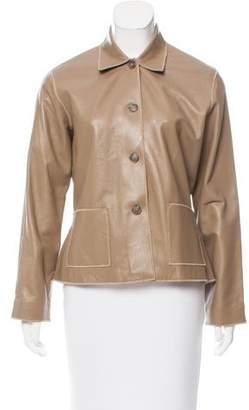 Rozae Nichols Leather Button-Up Jacket