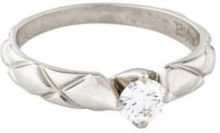 Chanel Platinum Diamond Matelasse Solitaire Ring