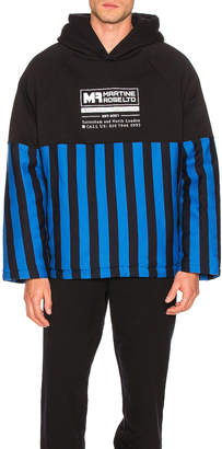 Martine Rose Split Wadded Hoodie in Black & Blue Stripe | FWRD