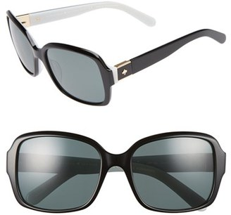 Women's Kate Spade New York 54Mm Polarized Sunglasses - Black/ White $175 thestylecure.com