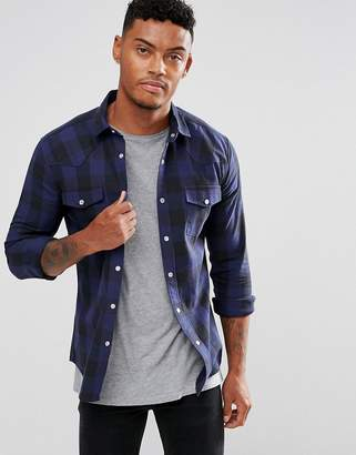 Asos Design Skinny Check With Western Styling In Blue