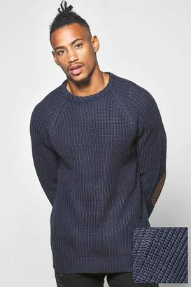 boohoo Heavy Knit Jumper With Elbow Patches