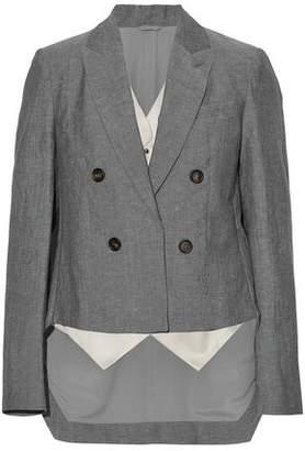 Brunello Cucinelli Asymmetric Layered Wool And Linen-Blend Blazer