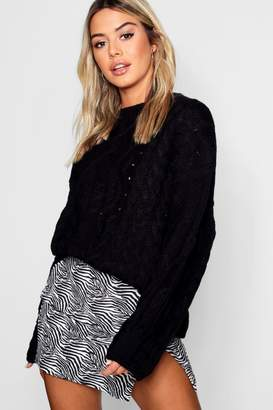 boohoo Petite Oversized Cable Knit Balloon Sleeve Jumper