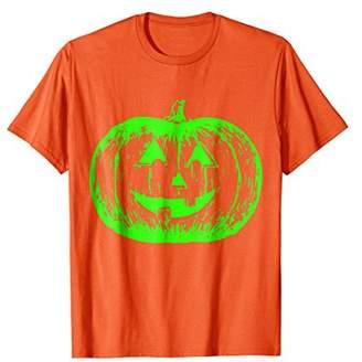 Scary Halloween Pumpkin T-Shirt + Neon Green Acid Glow