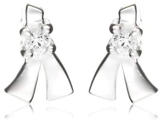 Jo for Girls Silver Ce82 Cubic Zirconia Sparkly Bow Shape Stud Earrings