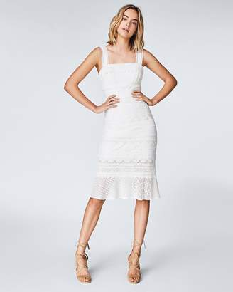 Nicole Miller Lace Combo Trumpet Dress