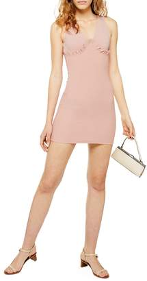 Topshop Bust Cup Frill Bodycon Mini Dress