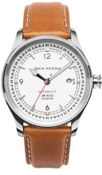 Jack Mason Nautical Stainless Steel& Italian Leather Automatic Strap Watch
