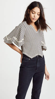 See by Chloe V Neck Stripe Ruffle Tee
