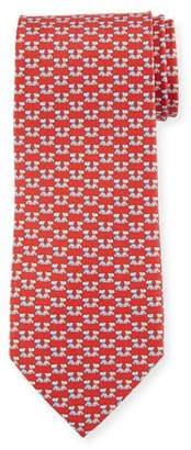 Salvatore Ferragamo Fido Dogs Printed Silk Tie, Red