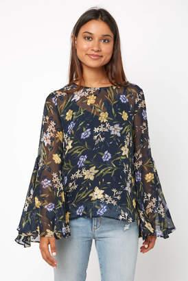 Astr Anya Long Sleeve Floral Keyhole Blouse