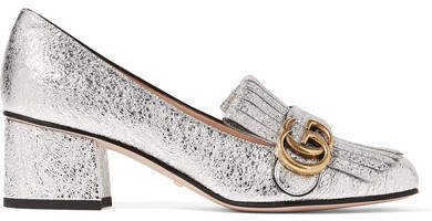 Gucci - Marmont Fringed Metallic Cracked-leather Loafers - Silver