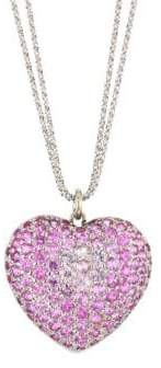 Renee Lewis 18K White Gold& Pink Sapphire Heart Pendant Necklace