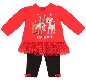 Rudolph Newborn Baby Girl Ruffle Top and Legging Set