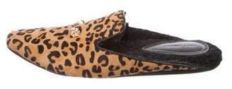 Derek Lam Leopard Print Ponyhair Slippers