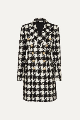 Balmain Double-breasted Houndstooth Tweed Coat - Black