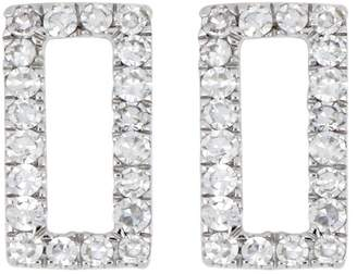 Carriere Sterling Silver Pave Diamond Open Rectangle Stud Earrings - 0.12 ctw